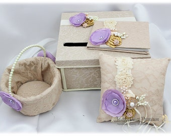 Champagne Ring Pillow, Flower Girl Basket, Lace Card Money Box, Wedding Lace Guest Book, Champagne Ivory Lavender Gold Wedding Set
