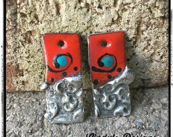 Red and Turquoise and Stamped Solder Torch Fired Enamel Charms