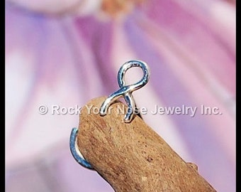 Awareness Ribbon Nose Stud in Tarnish Resistant Argentium Sterling Silver - CUSTOMIZE
