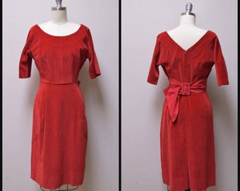 Vintage 50s/60s Red Velveteen Fitted Wiggle Party Formal Prom Dress w Satin Belt Size XS