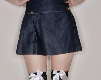 Vtg 90s blue denim designer Todd Oldham pleated denim wrap skirt size S