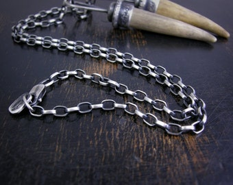 Oval rolo chain made to order sterling silver 3.2mm soldered jump rings and lobster claw clasp antique rustic finish