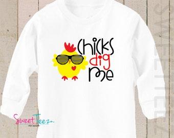 Chicks Dig Me shirt Valentine's Day LONG SLEEVE Shirt Boy Baby Toddler Shirt
