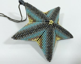 Contemporary Geometric Beadwork - Aqua Starfish Pendant