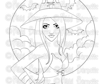 Digital Stamp - Printable Coloring Page - Fantasy Art - Witch Stamp - Adult Coloring Page - Kenda - by Nikki Burnette - PERSONAL USE