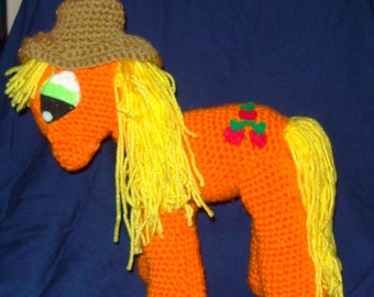 Apple Jack Crochet Pony With Removable Hat Stuffed Animal Toy Crochet  Horse