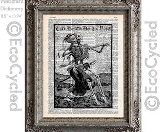 Skeletons Dancing Till Death Do Us Part on Vintage Upcycled Dictionary Art Print Book Art Print Romance Love Bones Wedding Anniversary