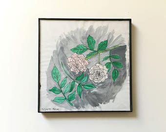 41/100: little roses - original framed watercolor illustration