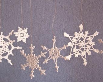 Crochet  Snowflakes, Crochet  Christmas Snowflakes - holiday decor- Set of 6 Lacy Snowflakes Home decor