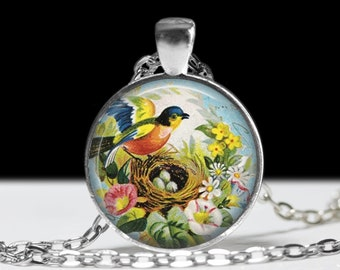 Bird Jewelry Blue Birds on a Nest Pendant Wearable Art Bird Pendant Charm