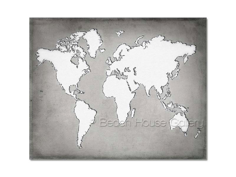 Gray white map large modern world map gray white office description modern world map in gray gumiabroncs Image collections