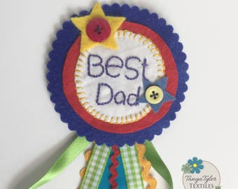 Best Dad (yellow star), Birthday badge, Fathers day, rosette