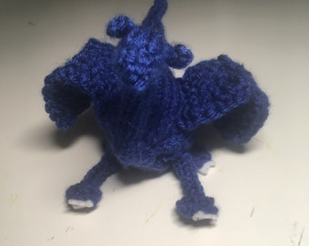 Blue knit toy dragons