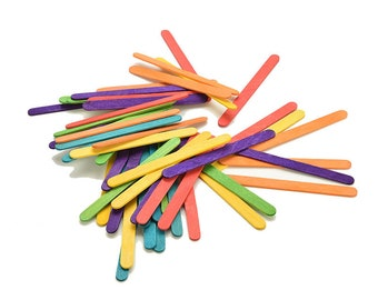 Wooden lollipop sticks 50 pieces colored or plain