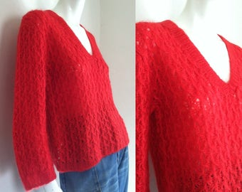 final sale -- Vintage 1960s Red Mohair Pullover Sweater