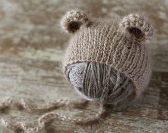 Newborn bear hat, newborn mohair hat, baby girl hat, baby boy hat, new born photo prop, photography