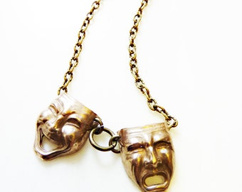 Comedy Tragedy Necklace, Hand-Cast Bronze or Sterling Silver, Mask Face, Iconic Figural, Theater, Drama, Acting, Thespian