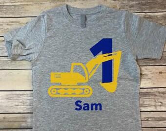 Excavator Birthday T-shirt, kids bday shirt, custom birthday shirt with age