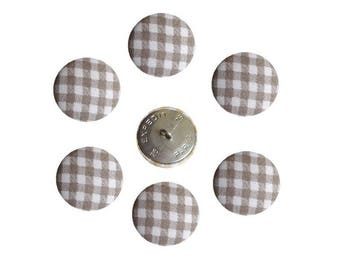 Buttons X 6 size option taupe and white checkered