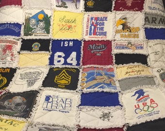 """Full Size T Shirt Quilt 14"""" Squares"""