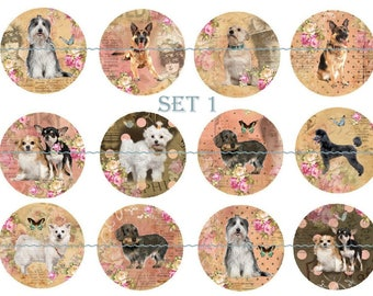 Dog Magnets or Pins, 1 Inch, 5 or 12 ct sets, Cute Dog Magnets, Shabby Dog Pinback Buttons, Dog Party Favors, Dogs and Roses,