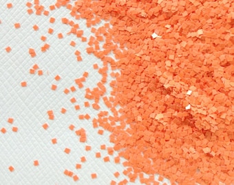 Squares - Orange Squares .040 solvent resistant matte glitter squares for suspension base, nail polish, nail art, gel, acrylic, crafts.