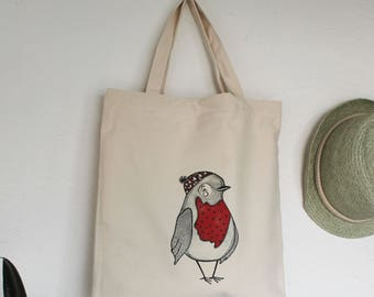 red robin tote bag, bird bag, robin lover gift, robin tote bag