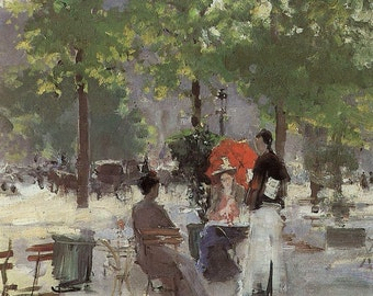 Impressionist Fine Art Print by Konstatin Korovin The Cafe---1860