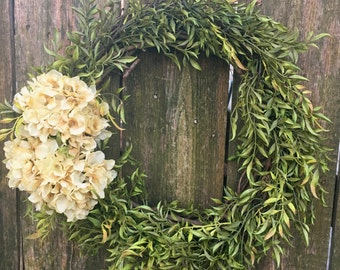 Front Door Wreath-Spring Wreath-Hydrangea Wreath-Everyday Wreath-Farmhouse Decor-Natural Floral Wreath-Spring Door Wreath-Porch Decor