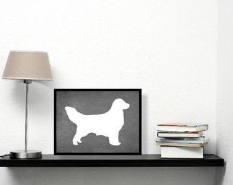 Golden Retriever Print, Chalkboard, Golden Retriever Silhouette, Dog lover Gift