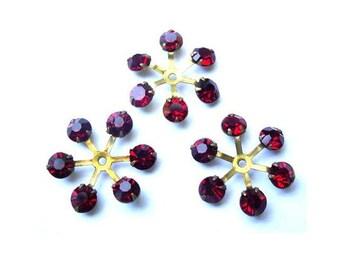 6 Vintage SWAROVSKI beads brass setting flower with red shade rhinestone crystals 17mm