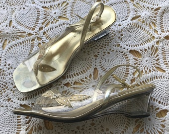 Vintage Arnie Gold And Acrylic Heeled Slingback Shoes Size 10M
