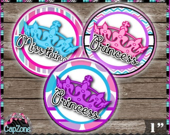 """Crown Sayings 212, Princess Divalicious Miss Thing - INSTANT DIGITAL DOWNLOAD - 1"""" Bottlecap Button Bow Images (4x6) Digital Collage Sheet"""
