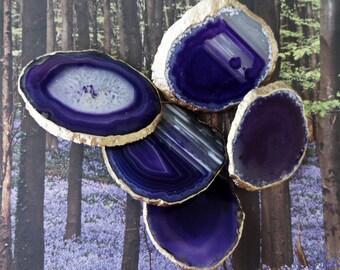 Small 18K Gold Edge Custom Eggplant Purple Agate Slice Drawer Pulls Knobs