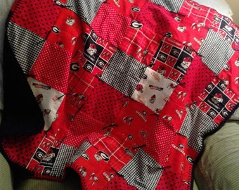 Georgia Bulldogs Patchwork Quilt