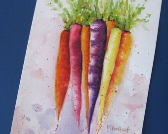 Spring trends Rainbow Carrots food art vegetable Watercolor painting giclée print