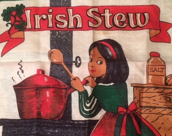 Adorable VTG Old Bleach 768 Pure Irish Linen Tea Towel - Irish Stew Recipe with Young Girl at Stove