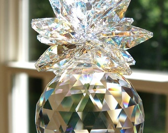 """Crystal Pineapple Suncatcher, 30mm Swarovski Logo-Etched Crystal Ball and Octagons, Window Hanger, Prism - """"ISABELLA"""" Heartstrings by Morgan"""