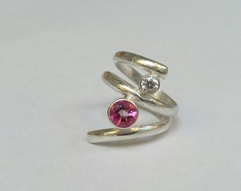 Sterling silver handmade twisted band with 6m pink topaz and 4m white cubic zirconia
