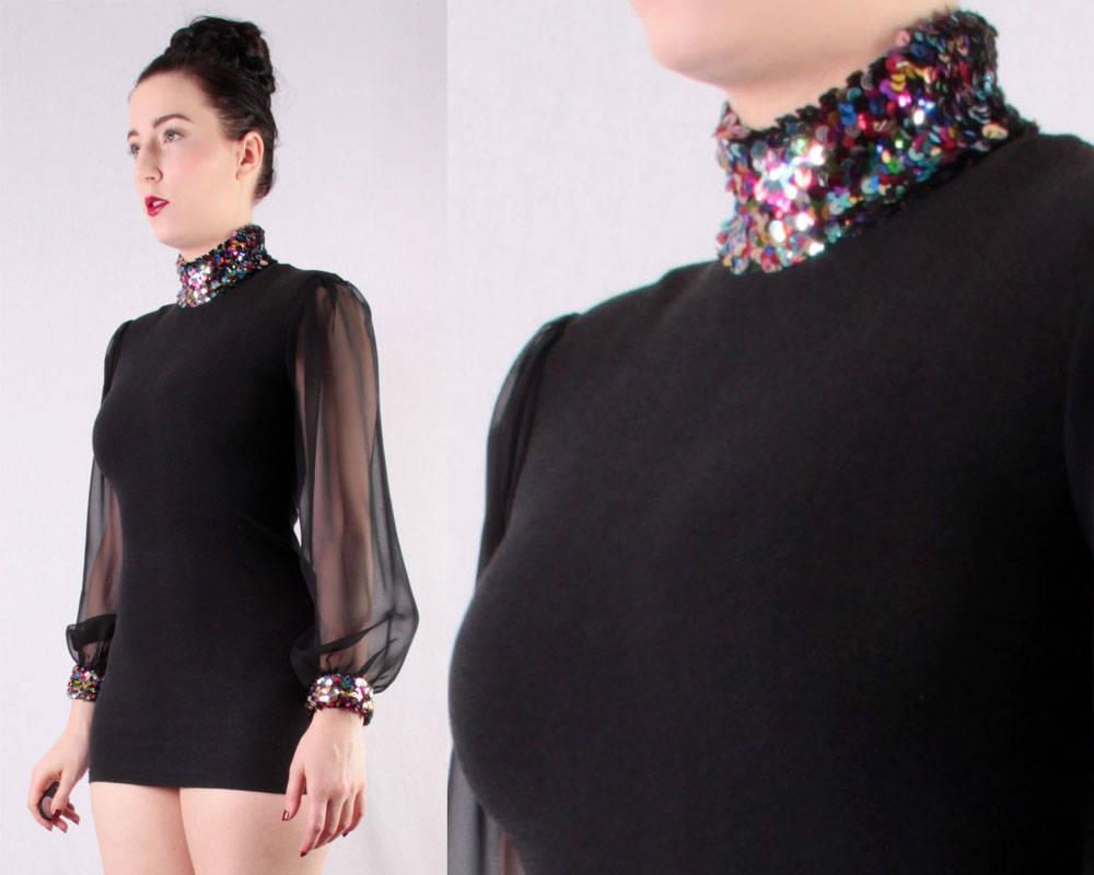 80er Jahre Mini-Kleid mit Pailletten Kragen und Manschetten