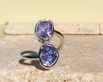 Raw Gemstone Ring, Rough Tanzanite Silver Ring, Dual Stone Ring, Double Stone Ring, Adjustable Silver Stone Ring, Tanzanite Ring