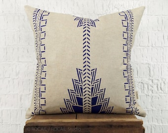 Southwestern Decorative Throw Pillow Case, Cushion Cover | Navajo Native American Indigo Blue and Natural Beige Pattern | Tribal Decor