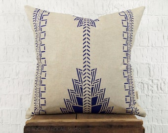 Indigo Southwestern Decorative Throw Pillow Case, Cushion Cover | Navajo, Native American Hand Printed Blue and Beige Pattern | Tribal Decor