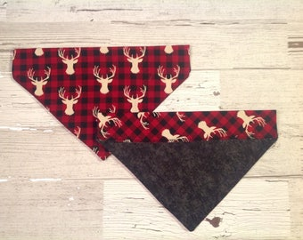 Buffalo Plaid with Deer Dog Over Collar Bandana, Red and Black Pet Scarf, Reversible