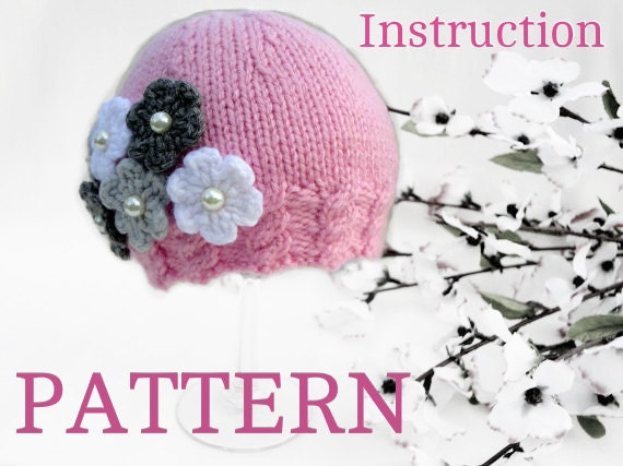 Knitting Pattern Baby Hat Baby Girl Beanie Knitted Baby Cap Infant
