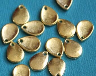50 pcs of Gold plated teardrop  8x11mm