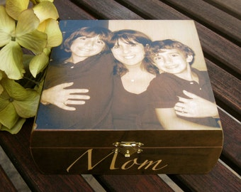 Photo Keepsake Box, Unique Personalized Gift, Custom Memory Box, Wedding Parents Gift, Memorial Keepsake Box, Father's, Mother's Day Gift