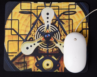 LIGHT WIZARD - Mousepad - Yellow - Abstract - Mouse Pad - Art - Office - Mousemat - Rectangular - Round Edges - Photograph - Geometry