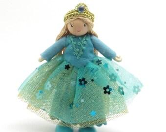 Little princess doll, miniature doll, blue princess, playhouse doll, freestanding doll, bendy princess, aqua doll, fairy tale doll
