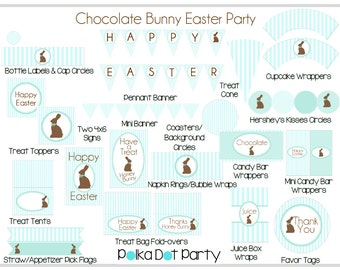 Chocolate Bunny Easter Party Printable Package in Sweet Pastel Blue & Brown